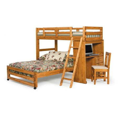 Woodcrest Heartland Twin Over Full Loft Bunk Bed Honey Walmart Com