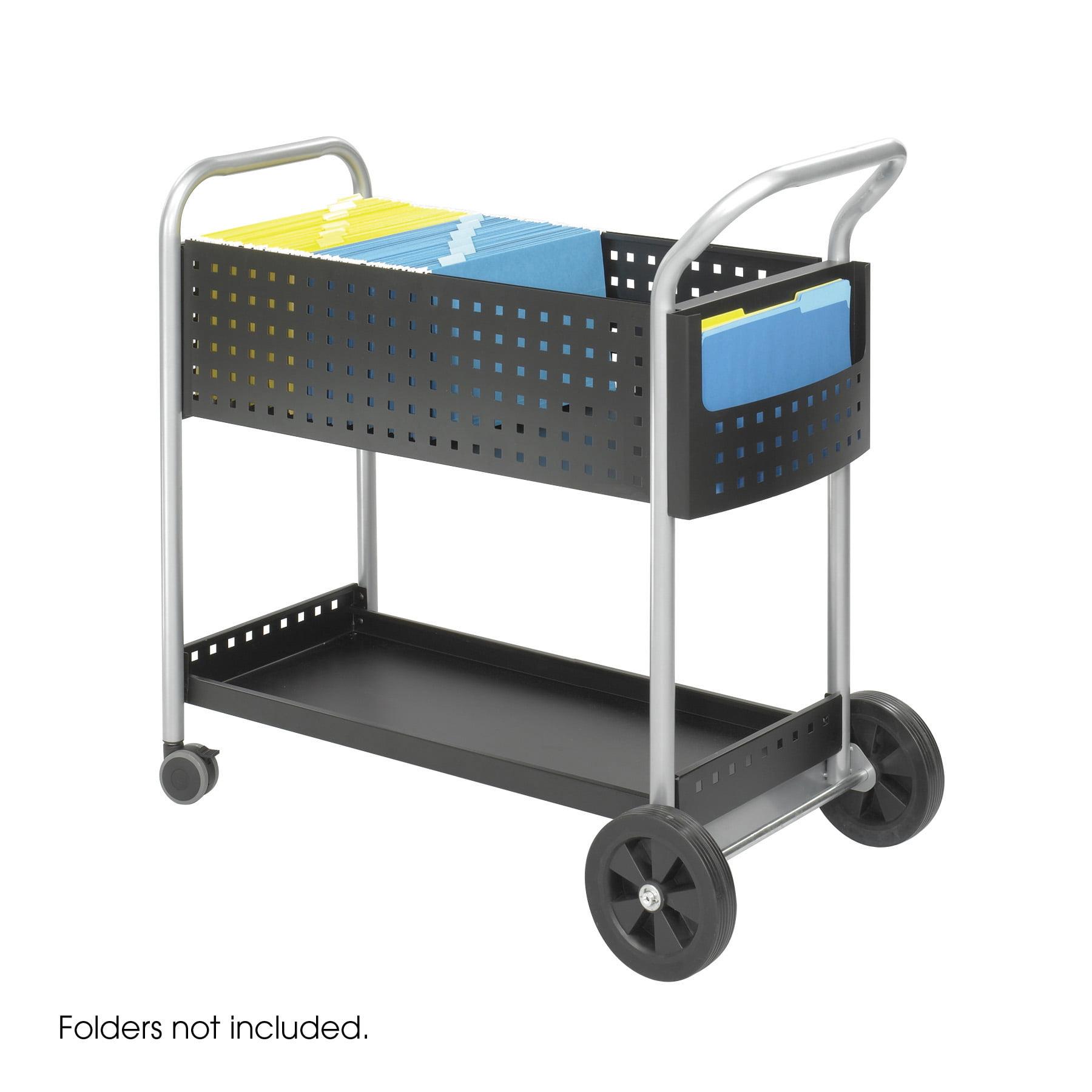 Lot of 3 Mobile steel handle & side pocket storage 20 Inch D Scoot Mail basket wheel Cart-5239BL