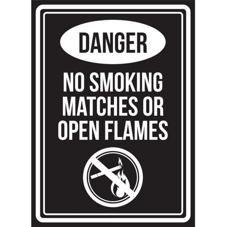 Match Com Commercial (Danger No Smoking Matches Or Open Flames Black & White Business Commercial Safety Warning Small Sign, 7.5x10.5 Inch )