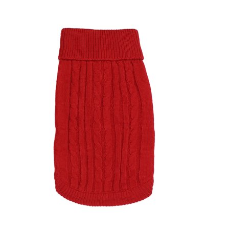 Pet Dog Ribbed Cuff Twisted Warm Turtleneck Apparel Knitwear Sweater Red Size L Button Cuff Turtleneck Sweater