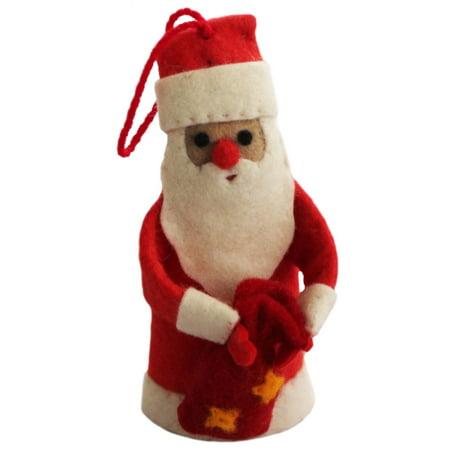 Santa Felt Holiday Ornament - Silk Road Bazaar (O) - Felt Santa