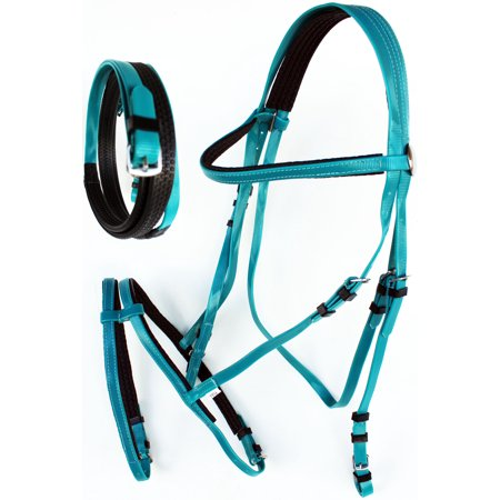 Endurance Bridle - Horse English Endurance Flash Noseband Biothane Bridle w/ Rubber Grip Reins Teal 40HS27