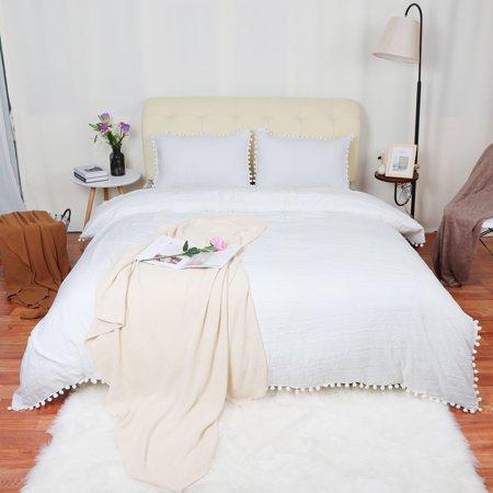 Wash Cotton Bedding Duvet Cover Pillowcase W Pompon