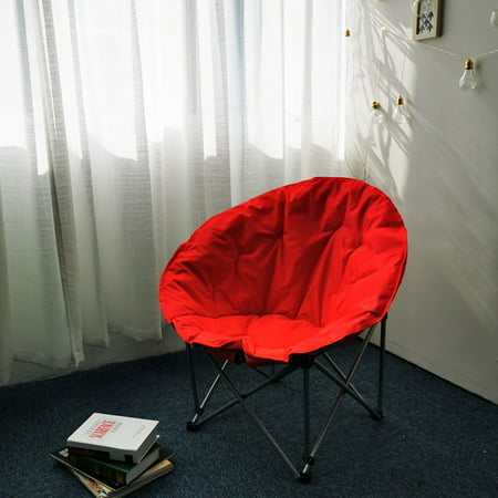 Yescom Portable Saucer Camping Chair Padded Foldable Outdoor Fishing Seat Lazy Moon Chair Red Black Blue Optional
