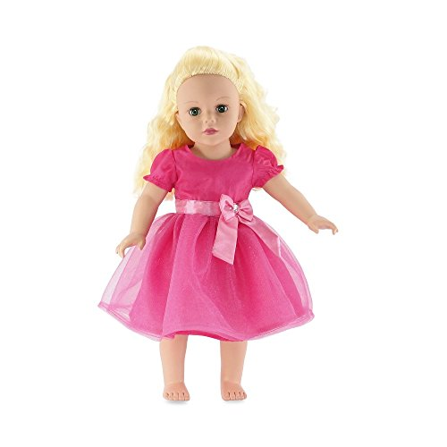 18 Inch Doll Clothes | Gorgeous Pink Party Dress Includes Bow with Jewel Detail | Fits... by Emily Rose Doll Clothes