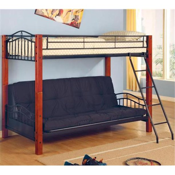 Coaster 2249 Haskell Metal And Wood Casual Twin Over Futon Bunk Bed Walmart Com
