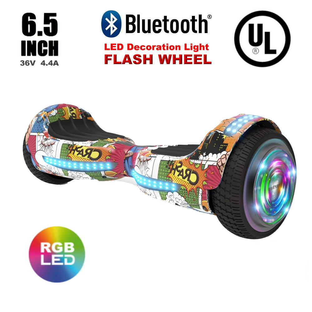 "Flash Wheel UL 2272 Certified Hoverboard 6.5"" Bluetooth Speaker with LED Light Self Balancing Wheel Electric Scooter - Super Hero"