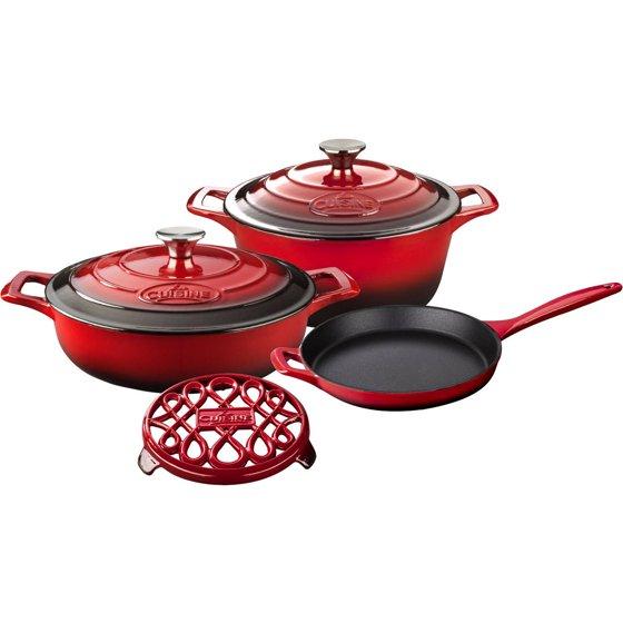 La Cuisine 6 Piece Enameled Cast Iron Cookware Set Round
