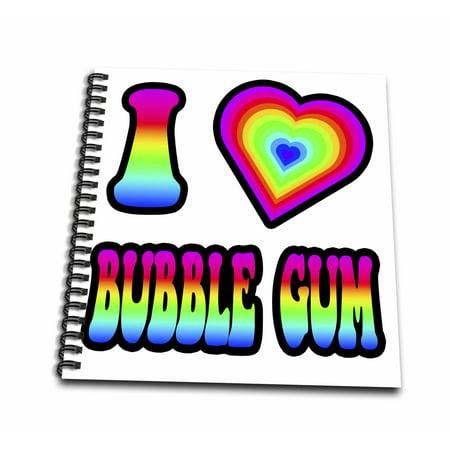 3dRose Groovy Hippie Rainbow I Heart Love Bubble Gum - Mini Notepad, 4 by 4-inch (Rainblow Gum)