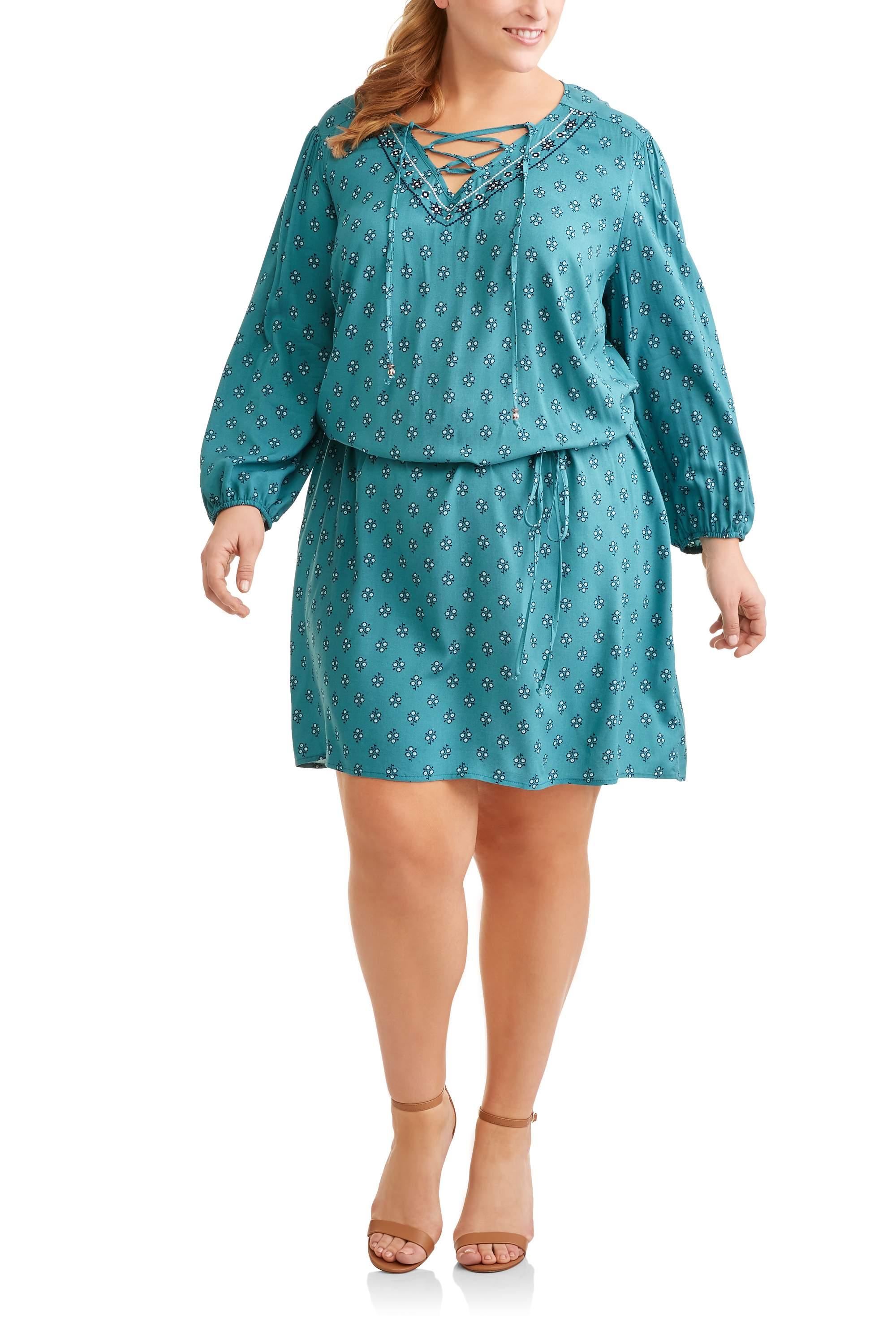 Terra & Sky Women's Plus Woven Lace Up Peasant Dress