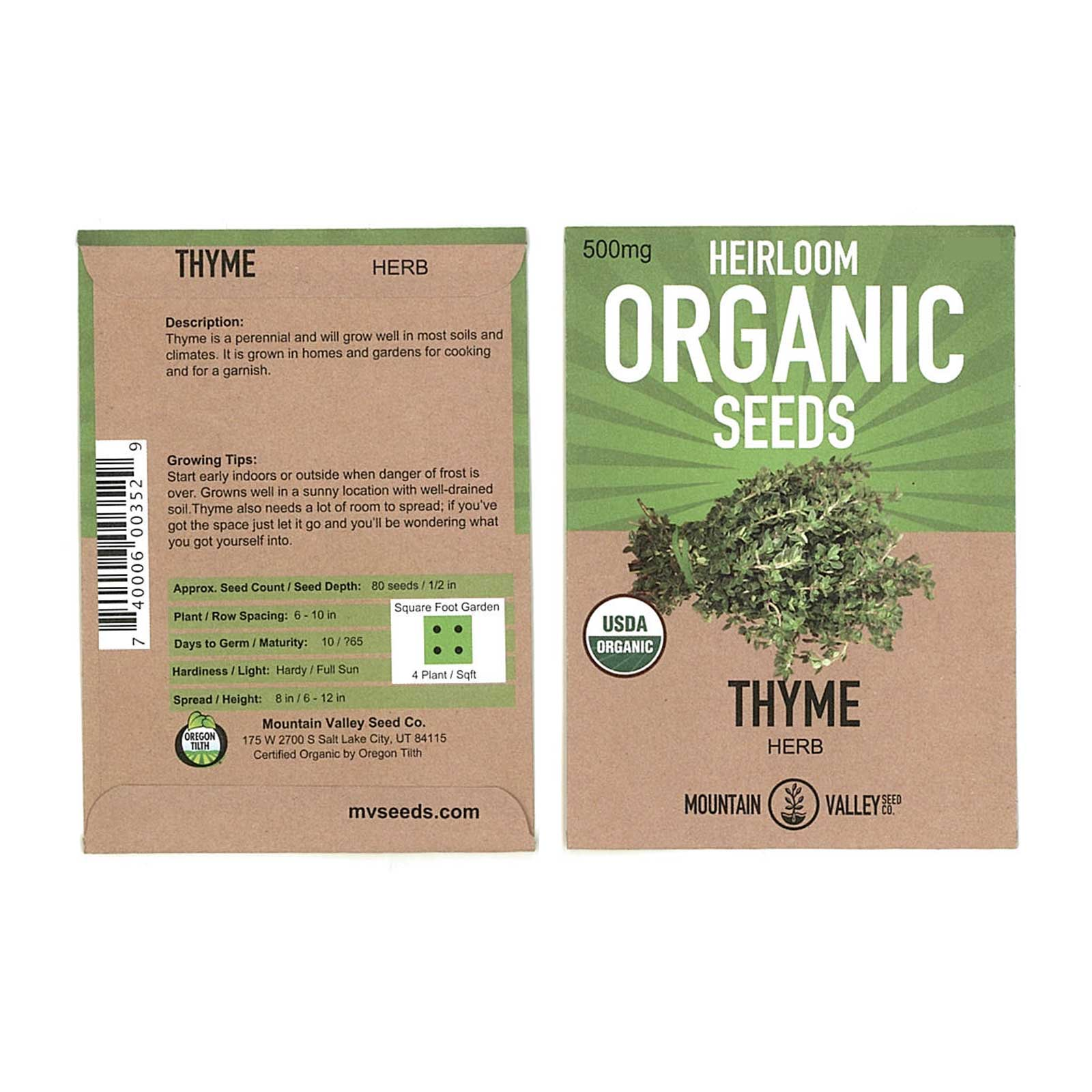 Thyme Herb Garden Seeds - Common - 500 mg Packet - Non-GMO, Organic, Heirloom Herbal Gardening & Microgreens Seeds