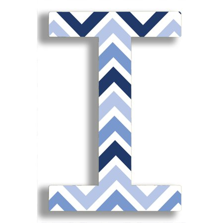 Stupell Decor Stupell Industries Oversized Blue Chevron Hanging Initial