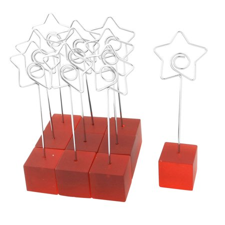 Household Cube Shaped Base Star Design Clamp Postcard Memo Clip Red 10 PCS