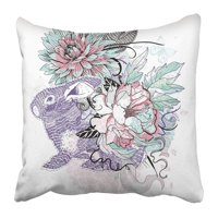 BPBOP Rose of Violet Rabbit and Blooming Flowers Easter Butterfly Hand Animal Artistic Beautiful Bunny Pillowcase 20x20 inch