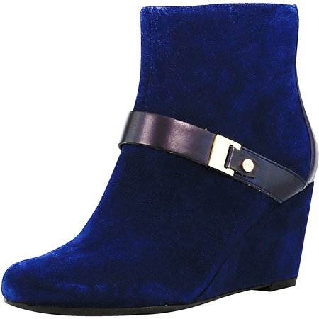 Isaac Mizrahi Live Womens Koi Suede Navy Ankle High Leather Boot   6 5M