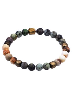 Genuine African Turquoise And Jasper Gold Plated Stainless Steel Beaded Men's Bracelet 8.5 Inch