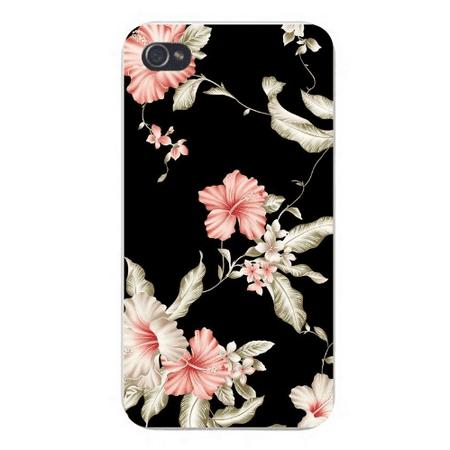 Apple Iphone Custom Case 4 4s Snap on - Floral Design w/ Pink Flowers Vines on Black -