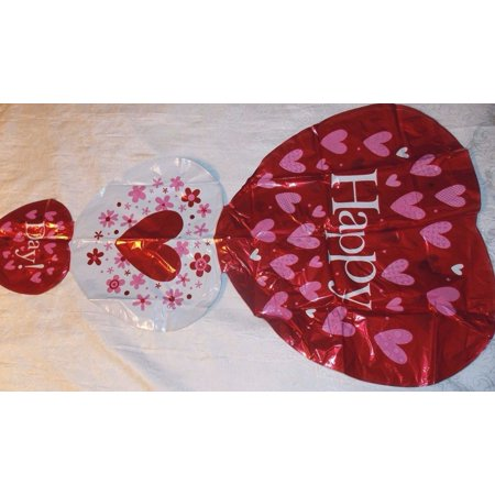 HUGE HAPPY DAY Red and white Heart Foil Helium Balloon Any Occasion](Red Heart Ballons)