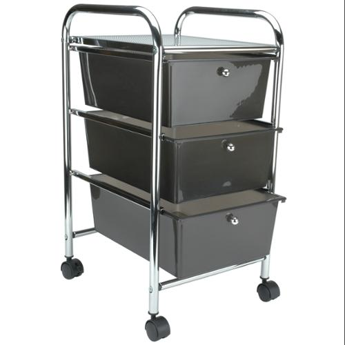 Cropper Hopper Home Center Rolling Cart-3 Drawer Smoke
