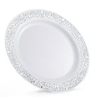 "Host & Porter Silver Rim Plastic Salad Plates, 7.5"", 10 Count"