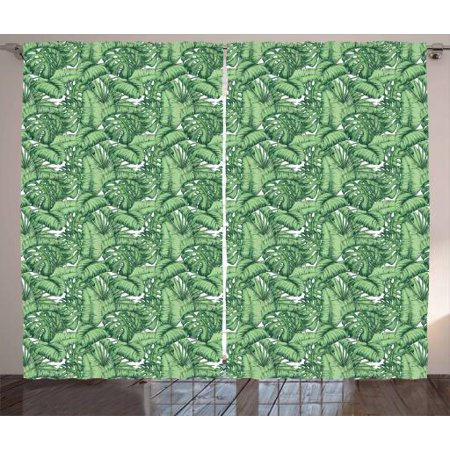 Banana Leaf Curtains 2 Panels Set, Hand Drawn Plantain Leaves Divided Into Two Lamina Halves, Window Drapes for Living Room Bedroom, 108W X 63L Inches, Hunter Green and Pale Green, by