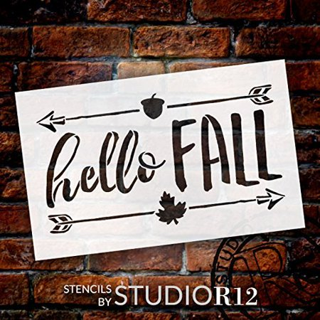 Hello Fall Stencil by StudioR12 | Shabby Chic Word Art - Mylar Template | Painting, Chalk, Mixed Media | Use for Journaling, DIY Home Decor -CHOOSE SIZE (16