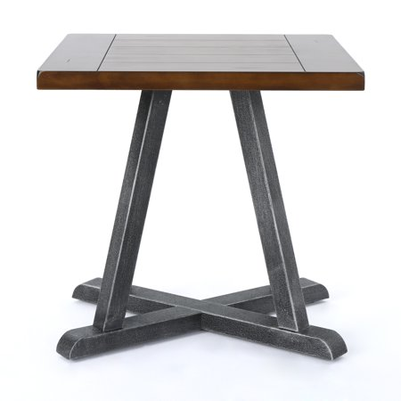 Orphium Industrial Faux Wood End Table with Antique Black Iron Frame, Dark Brown Finish