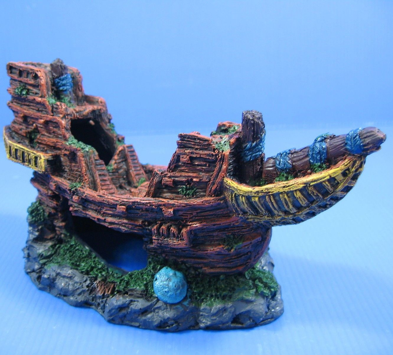 "Wooden boat Ancient ship 8.1""x3.3""x4.1"" Aquarium Ornament Decor resin Shipwreck"