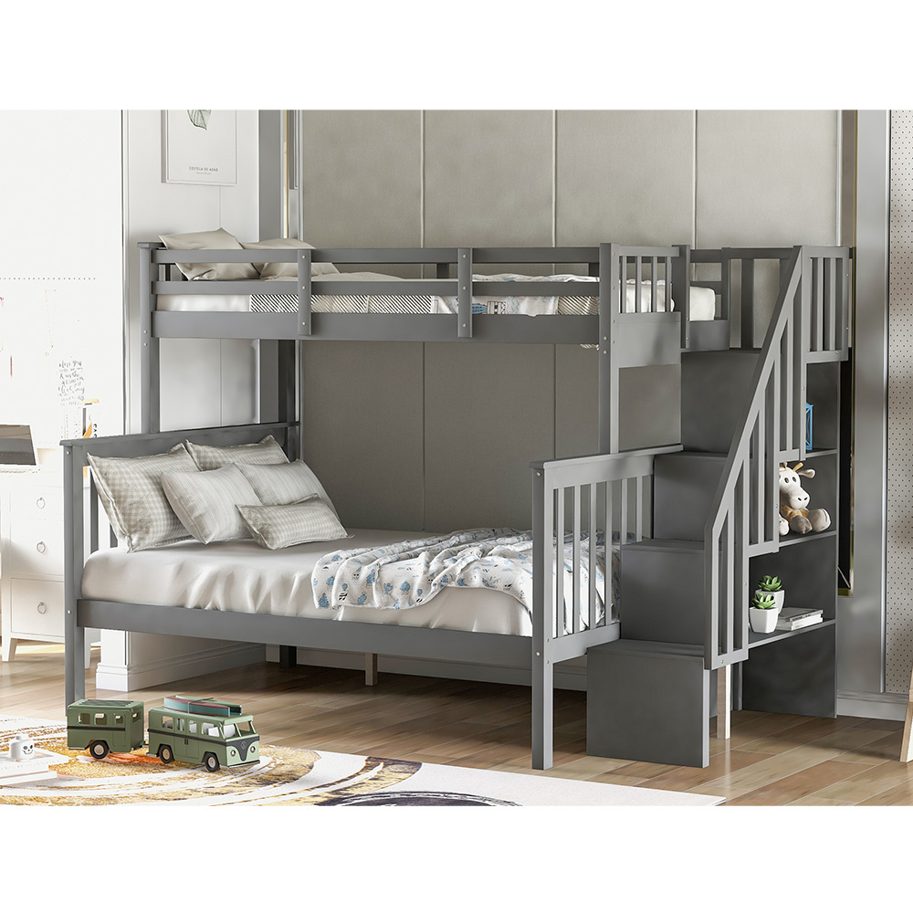 Private Jungle Twin Full Bunk Beds With Storage And Guard Rail Solid Wood Bunk Bed For Bedroom Gray Walmart Com Walmart Com