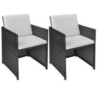 "Outdoor Rattan Dining Chairs, 2 pcs, Black 20.5""x22""x33.5"""