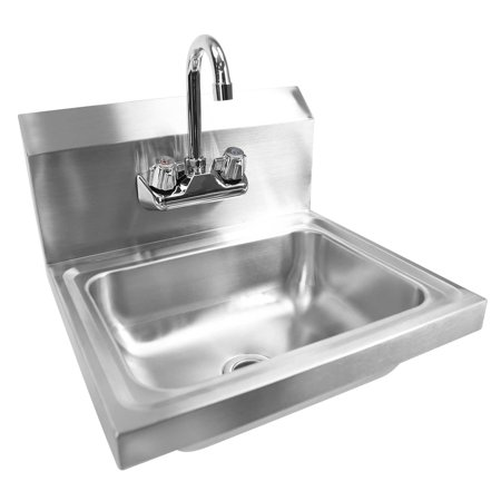 GRIDMANN Commercial NSF Stainless Steel Sink Wall Mount Hand Washing Basin with Faucet ()