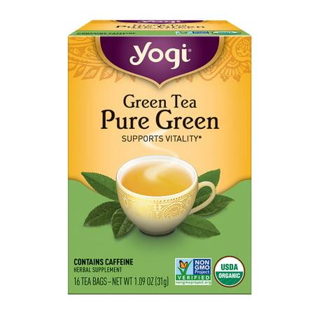 (3 Pack) Yogi Tea, Green Tea Pure Green Tea, Tea Bags, 16 Ct, 1.09 OZ