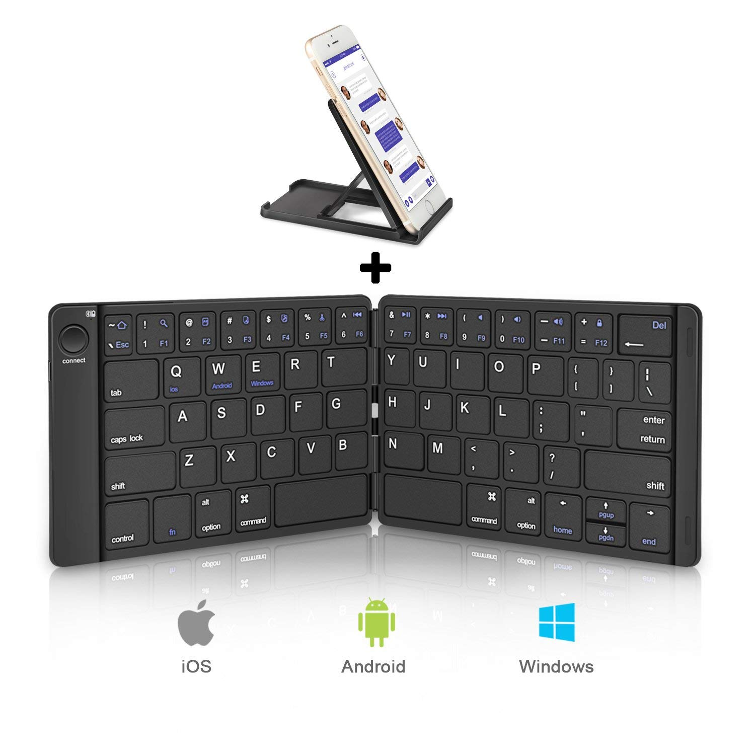 HB188D Foldable Bluetooth Keyboard Pocket Portable Universal Rechargable with Battery for iOS Android Windows PC Tablet