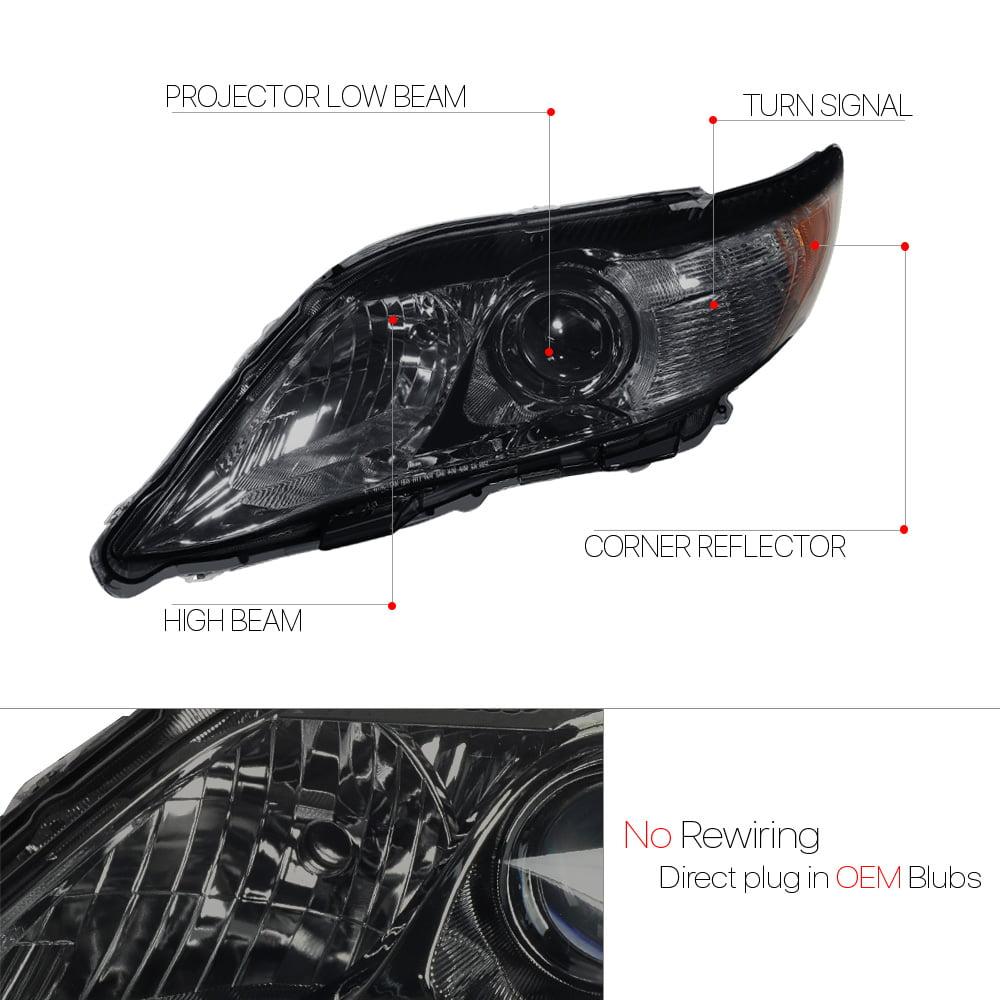 Black Projector Headlight Amber Corner Turn Signal for 10-11 Toyota Camry XV40