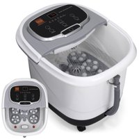 Best Choice Products Portable Heated Foot Bath Spa with Shiatsu Massage Rollers, Acupuncture Points, Drain - Silver