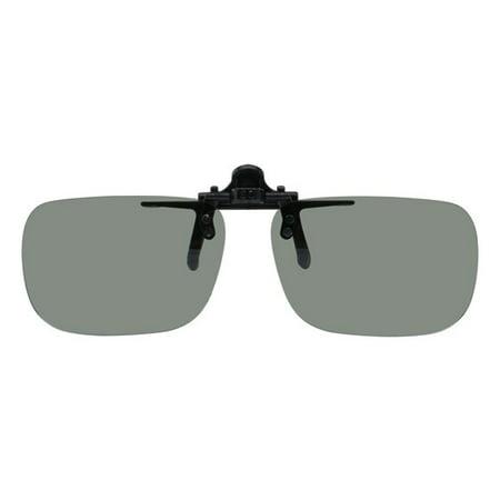 Polarized Clip-on Flip-up Plastic Sunglasses - Deep Rec - 54mm X 36mm - Polarized Grey Lenses - Shade Control D-Clips