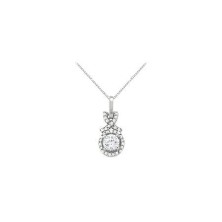 April Birthstone Cubic Zirconia Halo Pendant in 925 Sterling Silver - image 2 of 2