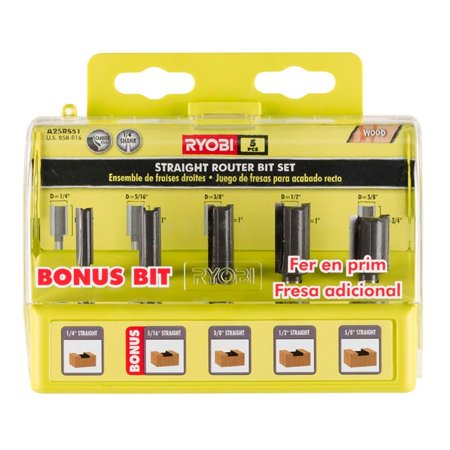 Ryobi Straight Router Bits Bit Set 5 pc. Carbide-Edged Woodworking Accessory A25RS51