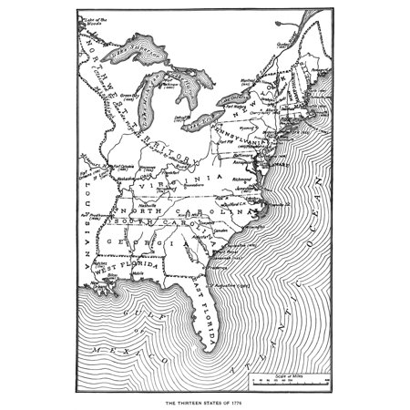Map Thirteen States Na Map Of The Thirteen Original American States The Northwest Territory And Louisiana As It Appeared In The 1770S Engraving C1900 Poster Print by Granger
