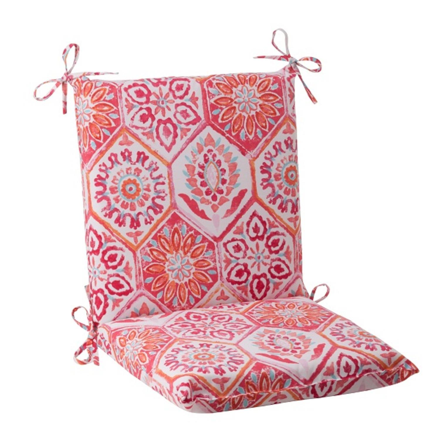 "36.5"" Pink Psychadelic Outdoor Patio Squared Chair Cushion"