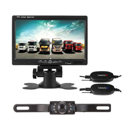 Podofo 12V 24V Wireless Car Backup Camera License Plate IR Night Vision Waterproof + 7