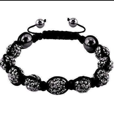 ON SALE - Charcoal Sparkly Crystals Hand Made Shamballa Bead Bracelet Charcoal