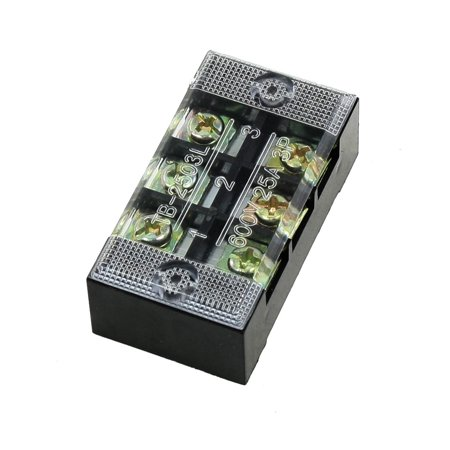 600V 25A 3 Position 3P Screw Terminal Strip Covered Barrier Block