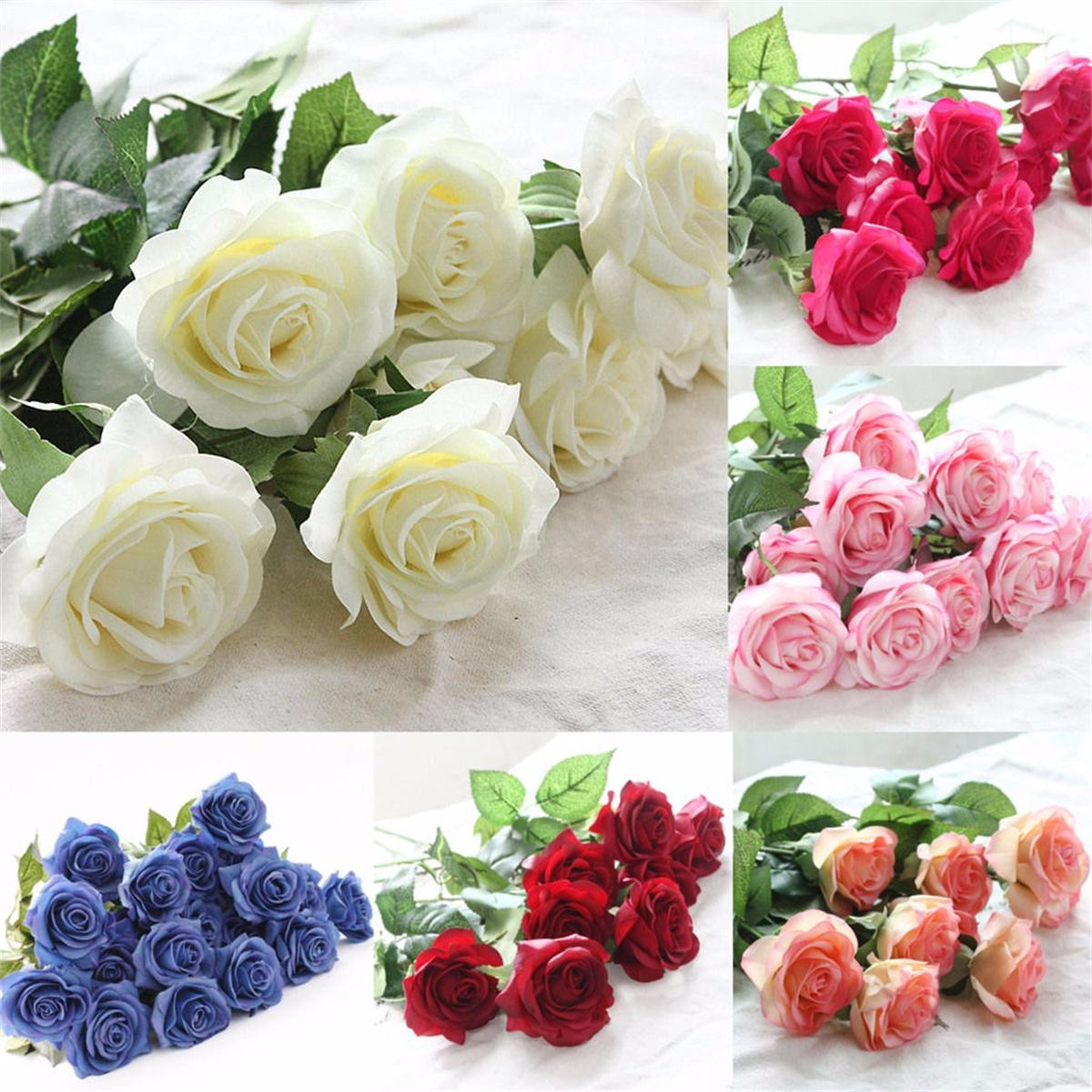 1 Head Real Latex Touch Rose Artifical Flowers Wedding Party Birthday Party Home Bouquet Decor 44*6cm