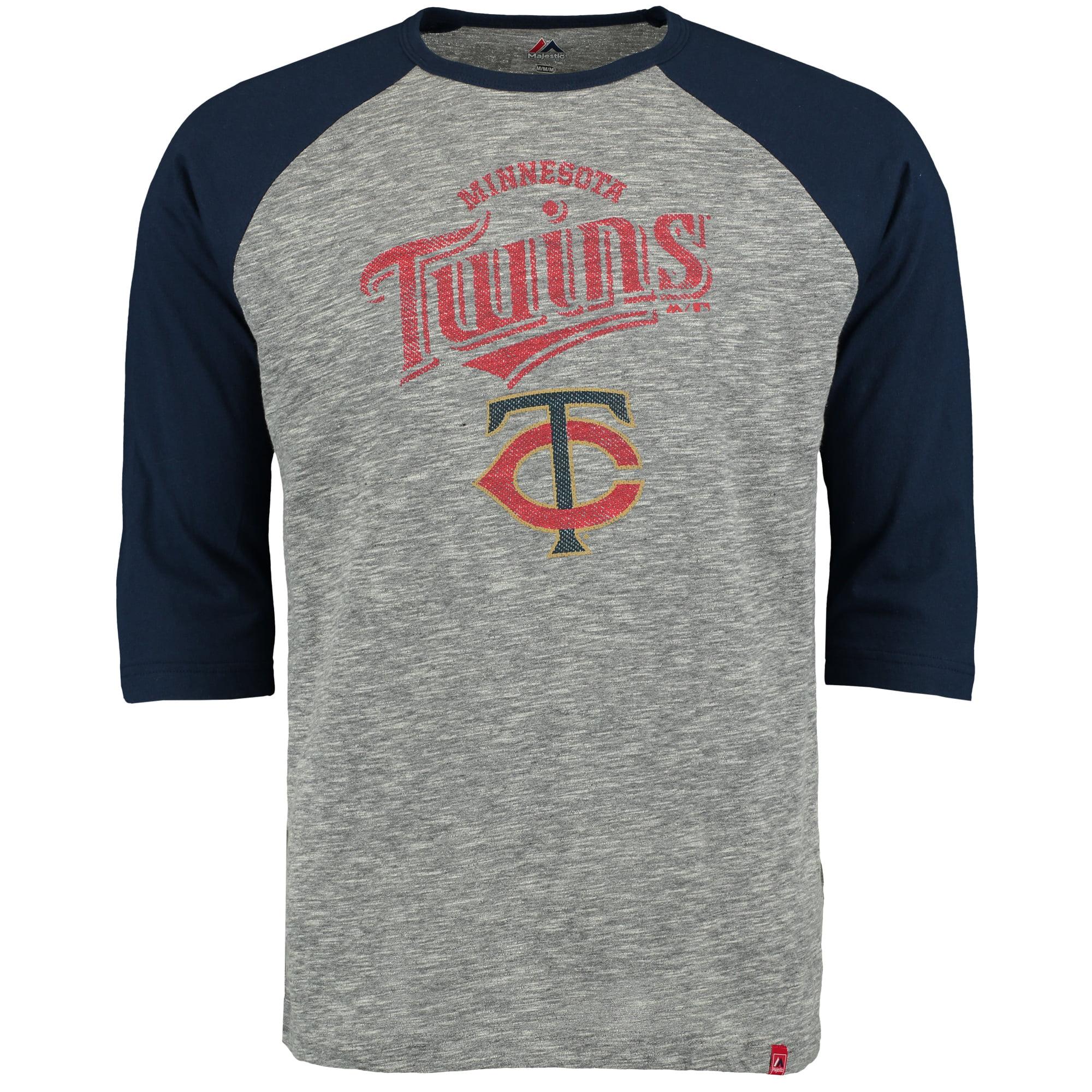 Minnesota Twins Majestic Fast Win Three-Quarter Raglan Sleeve T-Shirt - Gray/Navy