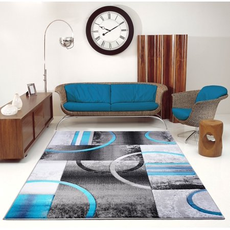 Ladole Rugs Dark Grey Gray Blue Turquoise Modern Geometric Area Rug Mat Carpet Runner for Living Bed room Entry way Patio Non Slip Size 3x5. 4x6 5 x 8 7 x 10, 9 by 12 11 feet ft - image 5 of 6