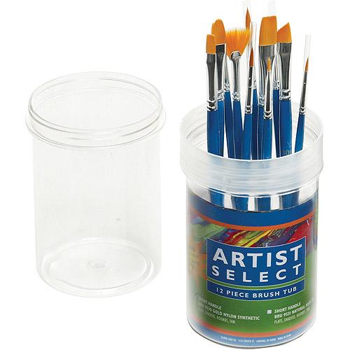 Pro Art Artist Select Short Handle Assorted Brush Tub, 12-Pack, Gold Nylon
