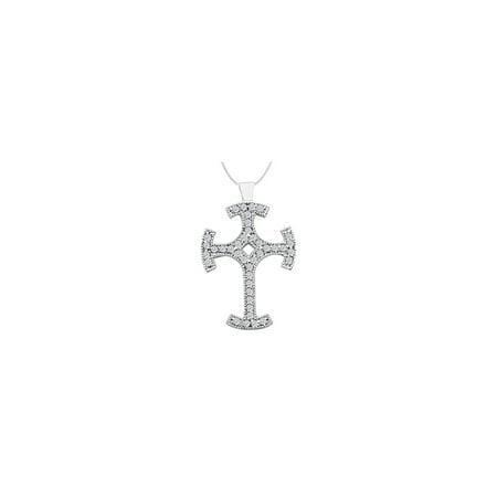 14K White Gold Cross Milgrain Diamond Pendant with 0.80 Carat Diamonds - image 2 de 2
