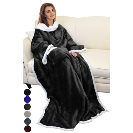 """Sherpa Fleece Wearable Blanket with Sleeves and Pocket, Micro Plush Warm Comfort Sleeved TV Throws Blanket Robe for Adult Women and Men Large 72""""X55"""" By Catalonia"""