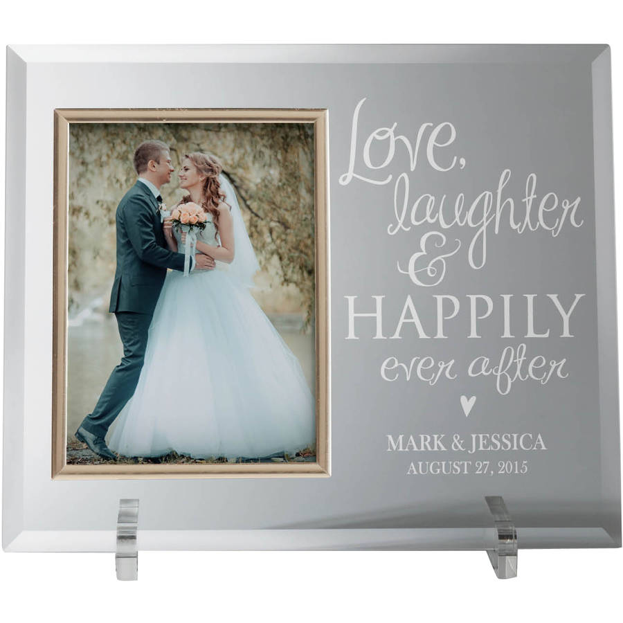 Personalized Glass Frame - Love, Laughter and Happily Ever After